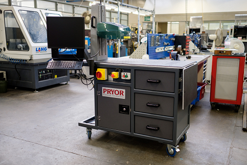 Large marking station on wheels for use around the shop floor